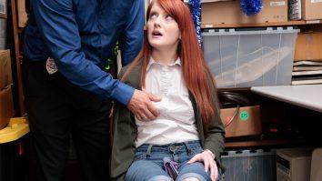 Redhead shoplyfter teen Krystal Orchid