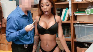 Ebony babe Sarah Banks fucked by white cock