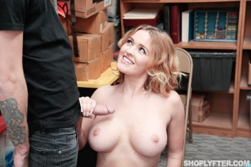 Krissy Lynn gets her big tits covered in sperm from male shoplyfter