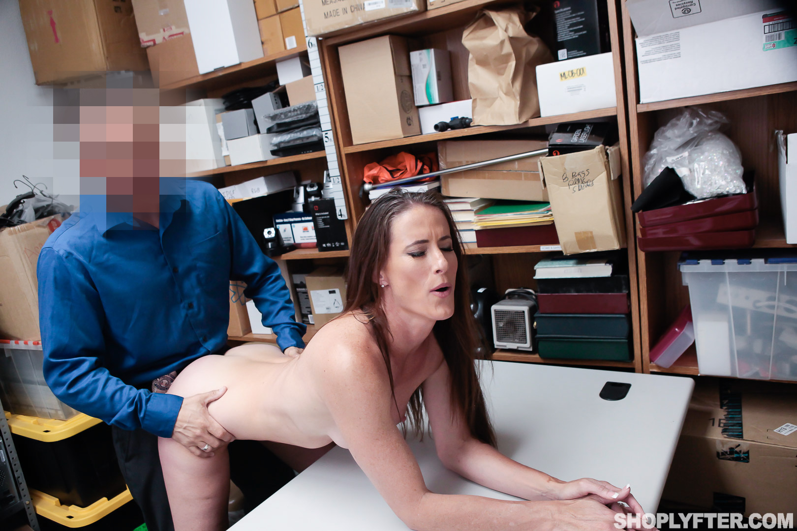 Pervert Redhead Fucked By Store Security