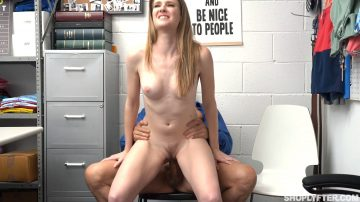 Ashley Lane rides LP cock in office